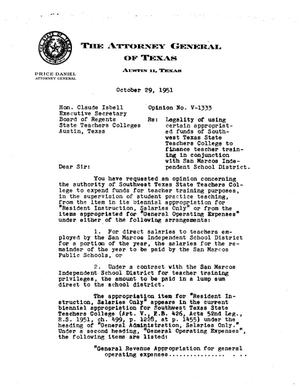 Primary view of object titled 'Texas Attorney General Opinion: V-1333'.