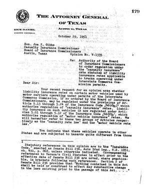 Primary view of object titled 'Texas Attorney General Opinion: V-1335'.