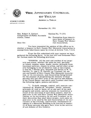 Primary view of object titled 'Texas Attorney General Opinion: V-1351'.