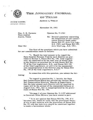 Primary view of object titled 'Texas Attorney General Opinion: V-1361'.
