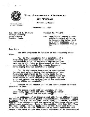 Primary view of object titled 'Texas Attorney General Opinion: V-1370'.