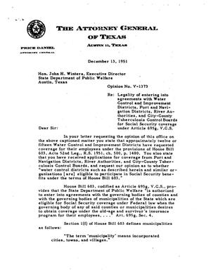Primary view of object titled 'Texas Attorney General Opinion: V-1373'.