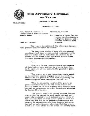 Primary view of object titled 'Texas Attorney General Opinion: V-1379'.