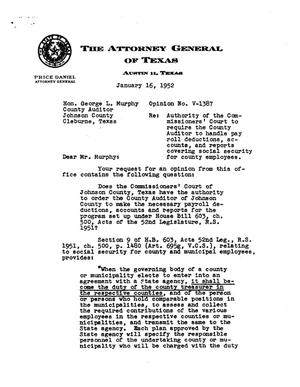 Primary view of object titled 'Texas Attorney General Opinion: V-1387'.