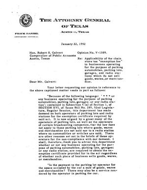 Primary view of object titled 'Texas Attorney General Opinion: V-1389'.