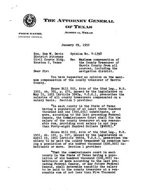 Primary view of object titled 'Texas Attorney General Opinion: V-1398'.
