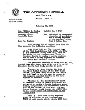 Primary view of object titled 'Texas Attorney General Opinion: V-1407'.
