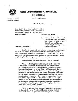 Primary view of object titled 'Texas Attorney General Opinion: V-1419'.