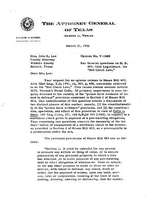 Primary view of object titled 'Texas Attorney General Opinion: V-1428'.