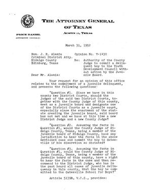 Primary view of object titled 'Texas Attorney General Opinion: V-1430'.