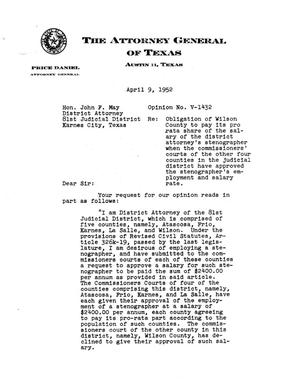 Primary view of object titled 'Texas Attorney General Opinion: V-1432'.