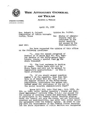 Primary view of object titled 'Texas Attorney General Opinion: V-1442'.
