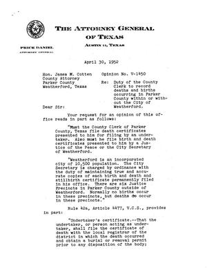 Primary view of object titled 'Texas Attorney General Opinion: V-1450'.