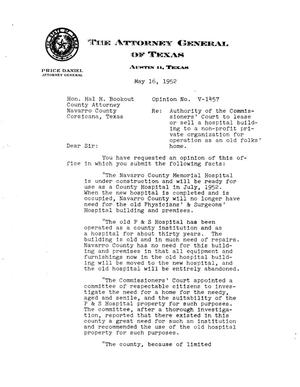 Primary view of object titled 'Texas Attorney General Opinion: V-1457'.
