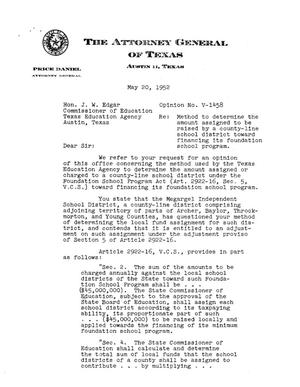 Primary view of object titled 'Texas Attorney General Opinion: V-1458'.