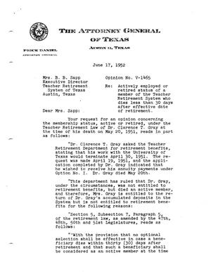 Primary view of object titled 'Texas Attorney General Opinion: V-1465'.