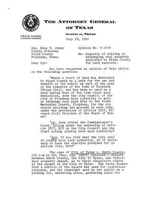 Primary view of object titled 'Texas Attorney General Opinion: V-1474'.