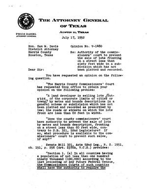 Primary view of object titled 'Texas Attorney General Opinion: V-1480'.