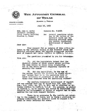 Primary view of object titled 'Texas Attorney General Opinion: V-1484'.