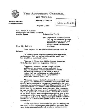 Primary view of object titled 'Texas Attorney General Opinion: V-1496'.