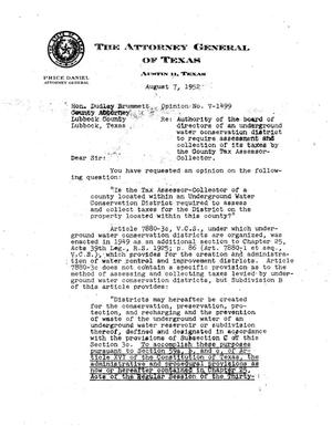 Primary view of object titled 'Texas Attorney General Opinion: V-1499'.