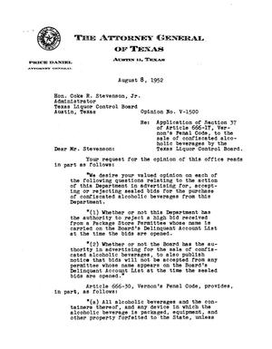 Primary view of object titled 'Texas Attorney General Opinion: V-1500'.