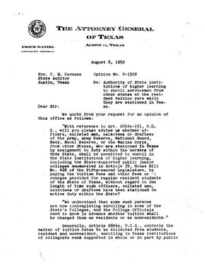 Primary view of object titled 'Texas Attorney General Opinion: V-1502'.