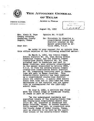 Primary view of object titled 'Texas Attorney General Opinion: V-1518'.