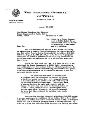 Primary view of object titled 'Texas Attorney General Opinion: V-1521'.