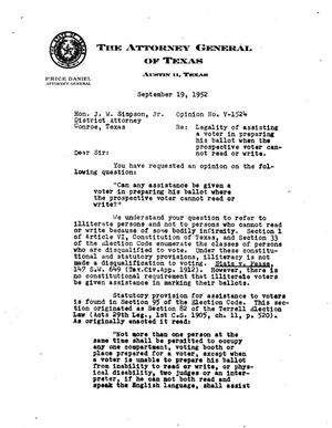 Primary view of object titled 'Texas Attorney General Opinion: V-1524'.