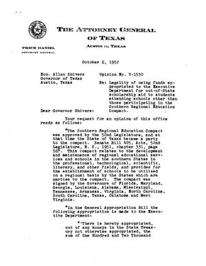 Primary view of object titled 'Texas Attorney General Opinion: V-1530'.