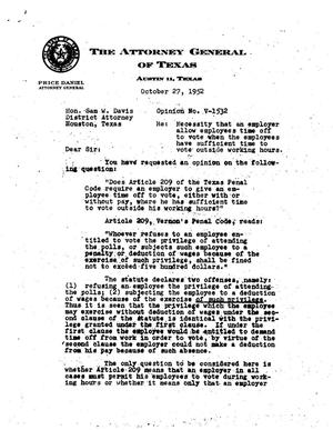 Primary view of object titled 'Texas Attorney General Opinion: V-1532'.