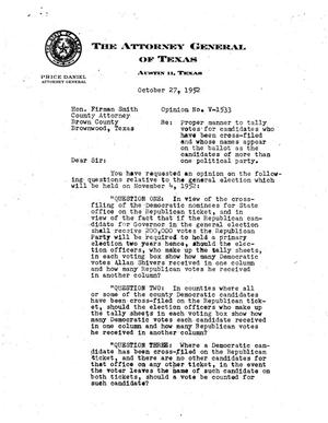 Primary view of object titled 'Texas Attorney General Opinion: V-1533'.