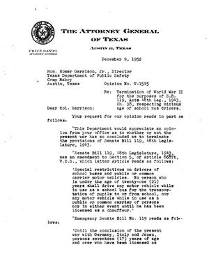 Primary view of object titled 'Texas Attorney General Opinion: V-1545'.