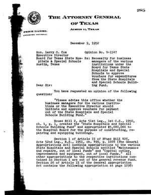 Primary view of object titled 'Texas Attorney General Opinion: V-1547'.