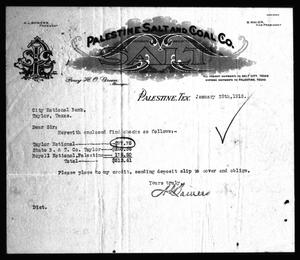 Primary view of object titled '[Letterhead from the Palestine Salt & Coal Company]'.