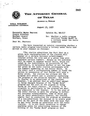 Primary view of object titled 'Texas Attorney General Opinion: WW-217'.