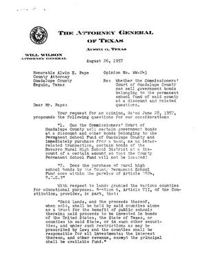 Primary view of object titled 'Texas Attorney General Opinion: WW-243'.