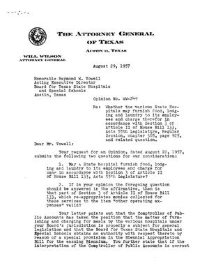 Primary view of object titled 'Texas Attorney General Opinion: WW-249'.