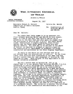 Primary view of object titled 'Texas Attorney General Opinion: WW-250'.