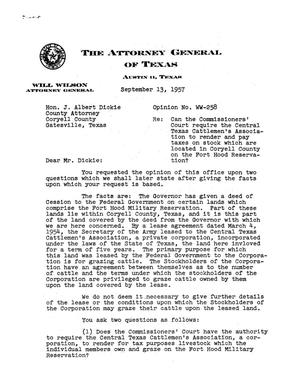 Primary view of object titled 'Texas Attorney General Opinion: WW-258'.