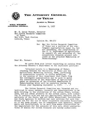 Primary view of object titled 'Texas Attorney General Opinion: WW-272'.