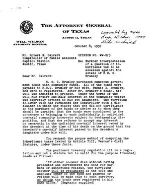 Primary view of object titled 'Texas Attorney General Opinion: WW-273'.