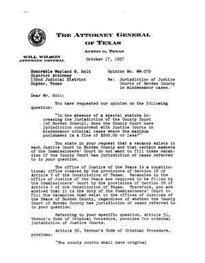 Primary view of object titled 'Texas Attorney General Opinion: WW-279'.