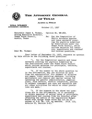 Primary view of object titled 'Texas Attorney General Opinion: WW-282'.