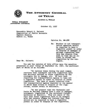 Primary view of object titled 'Texas Attorney General Opinion: WW-286'.