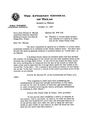 Primary view of object titled 'Texas Attorney General Opinion: WW-295'.