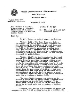 Primary view of object titled 'Texas Attorney General Opinion: WW-297'.