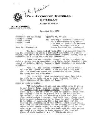 Primary view of object titled 'Texas Attorney General Opinion: WW-307'.