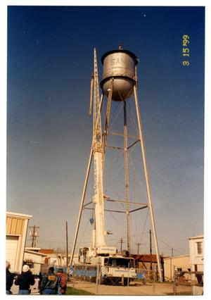 Primary view of object titled '[Dismantling old water tower, full shot]'.
